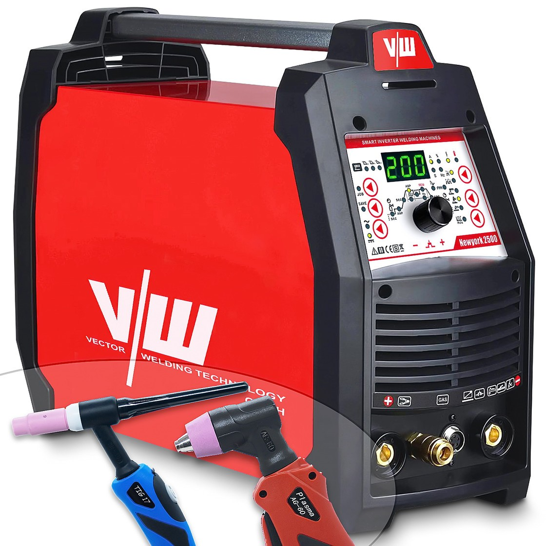 Máquina de soldadura 200A con cortador de plasma 50A, inversor de pulsos, MMA/Stick, IGBT, encendido HF, aluminio-New York 2500